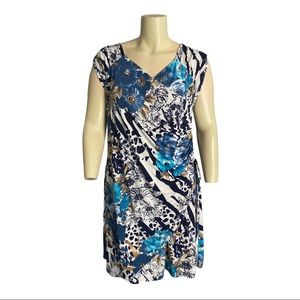 Lavena Floral Faux Wrap Dress Size XXL
